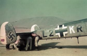 Damaged Messerschmitt Bf 110 taken in May 1941 following the entry of German forces to Greece, probably at Athens-Kalamaki airport. The number of technicians examining the tailwheel suggests that the damage was something out of the ordinary.